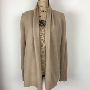Tahari 2 Ply Cashmere Open Front Tan Sweater Sz M